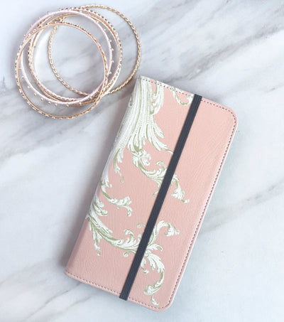 Pink Flourish Wallet elegant with strap
