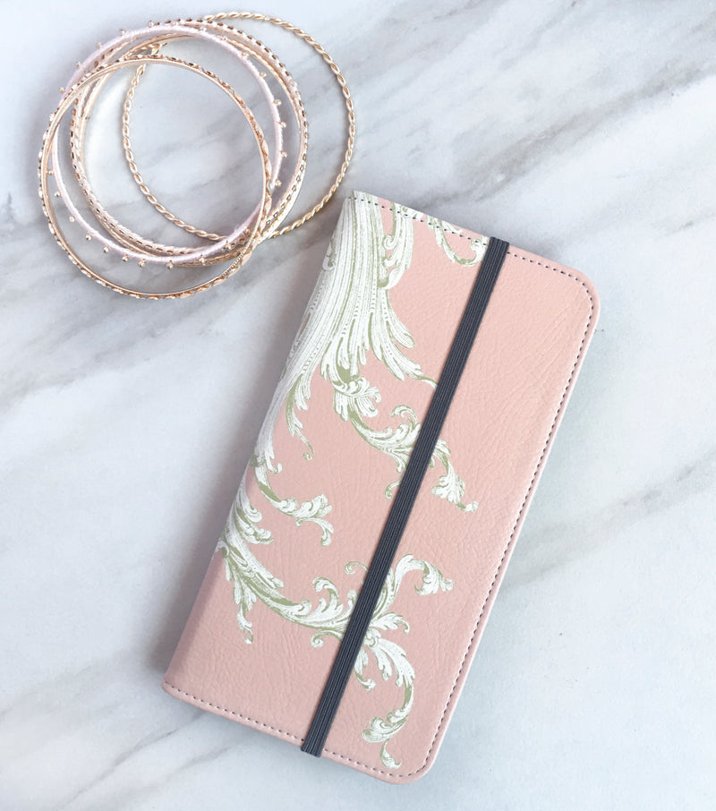 Pink Flourish Wallet case for iPhone with accessories
