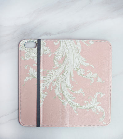 Pink Flourish iPhone 7 wallet case full view