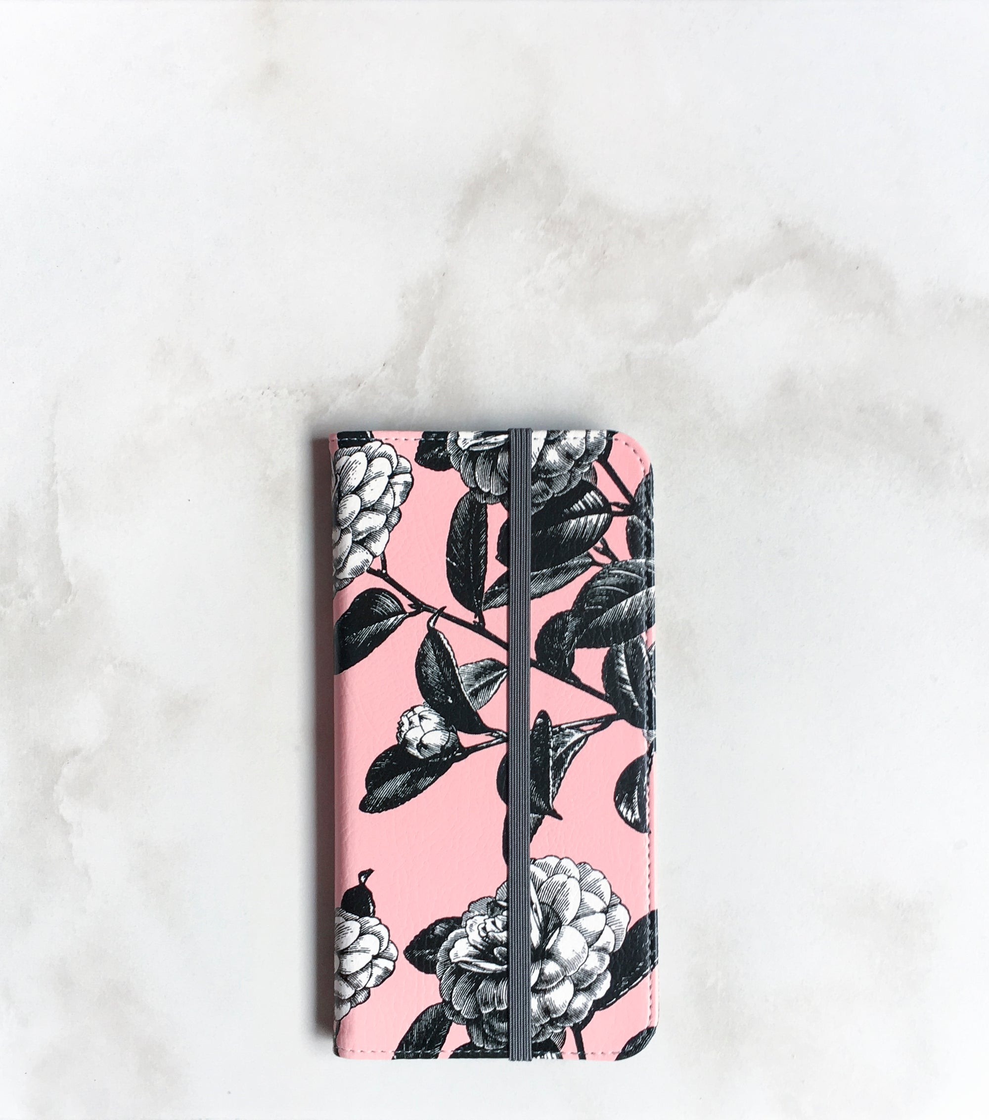 Garden Roses pink and black Wallet case with strap
