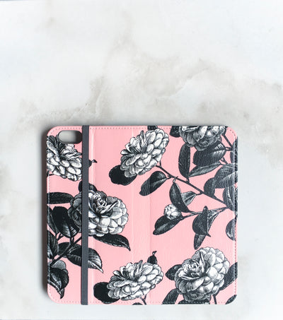 Garden Roses black and pink Wallet case