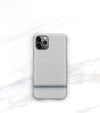 minimalist french blue stripe on gray iphone 11 pro case with soft matte finish