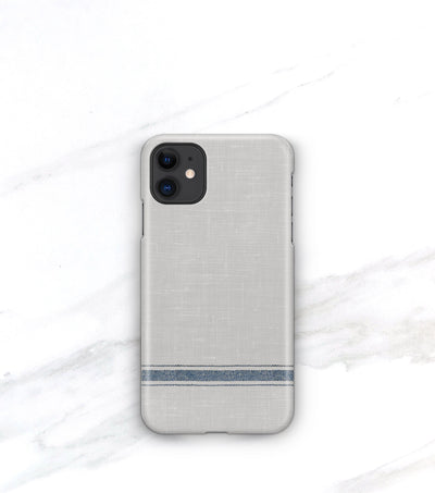 matte iphone 11 case in french blue and gray with stripe detail