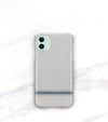 green iphone 11 in a french stripe phone case