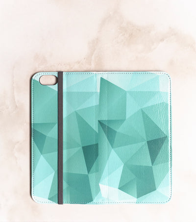 Teal Geometric Wallet for iPhone full view