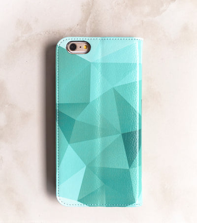 Teal Geometric Wallet case in turquoise