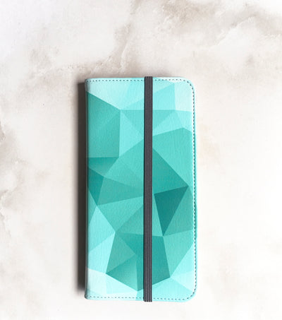 Teal Geometric Wallet case for iPhone with strap