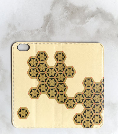 Geometric Honeycomb Wallet case for iPhone full view