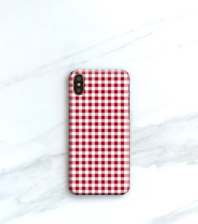 Red Gingham case for iPhone X