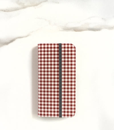 Red Gingham Wallet case for iPhone with strap