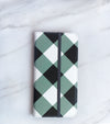 Wide Gray Gingham Wallet case for iPhone with strap