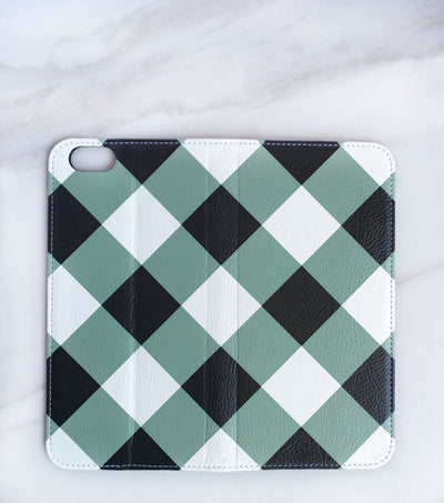 Wide Gray Gingham iPhone Wallet case full view