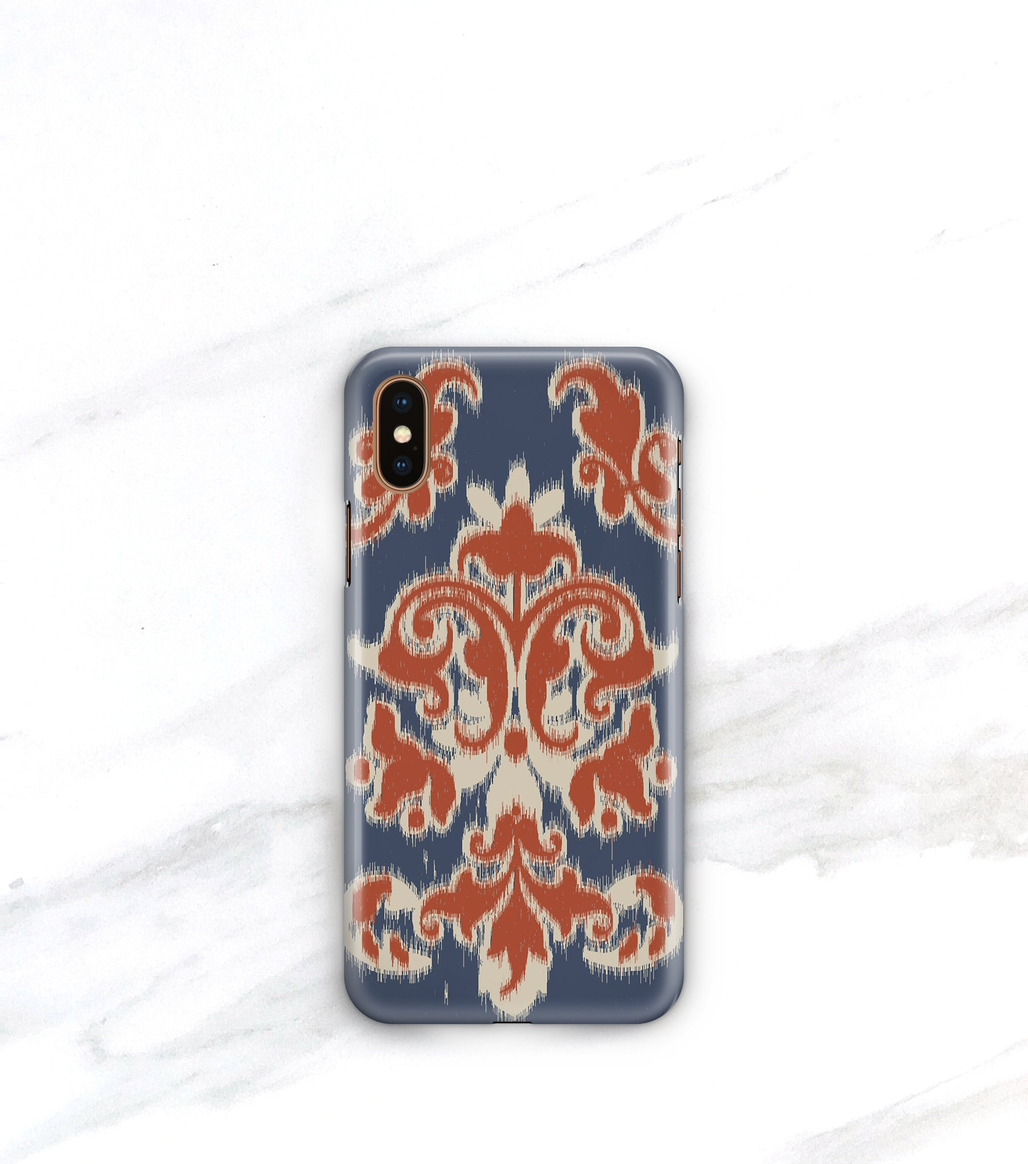 Casual cool iPhone xs case in Ikat print, blue, tan and rust red