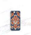 Ikat in orange and blue on an iPhone 8 plus case