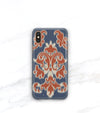cool iPhone xs max case in blue and rust Ikat pattern