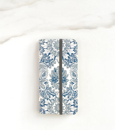 Indigo Boho Wallet case for iPhone with strap