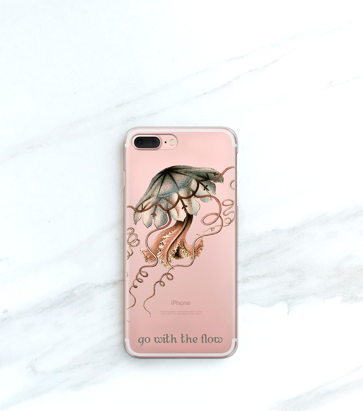 Jellyfish Clear case over a rose gold iPhone