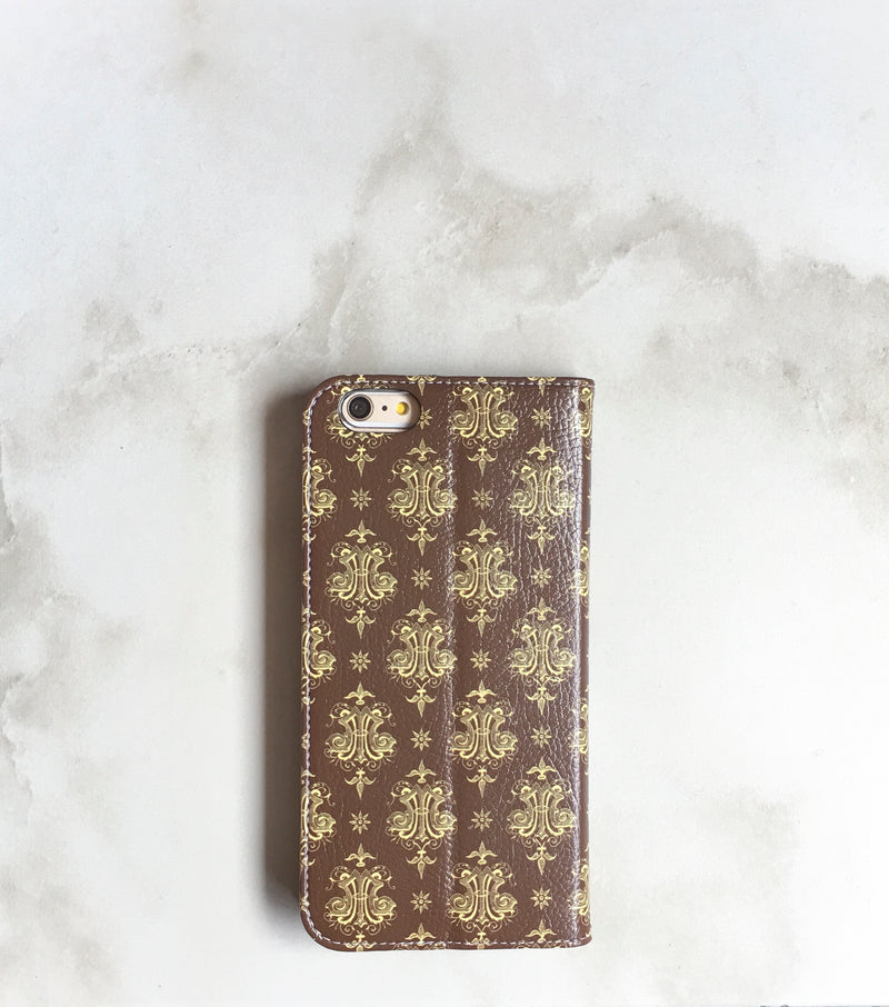 Logo Wallet case for iPhone with strap