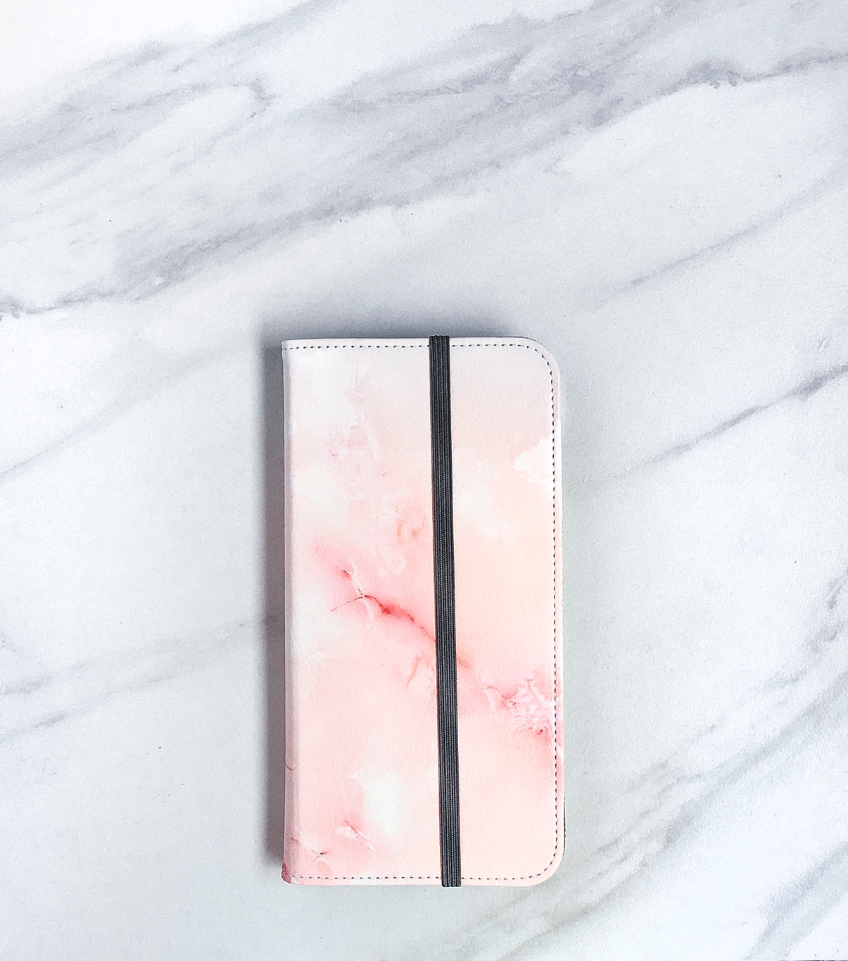 Pink Marble Wallet case for iPhone with strap