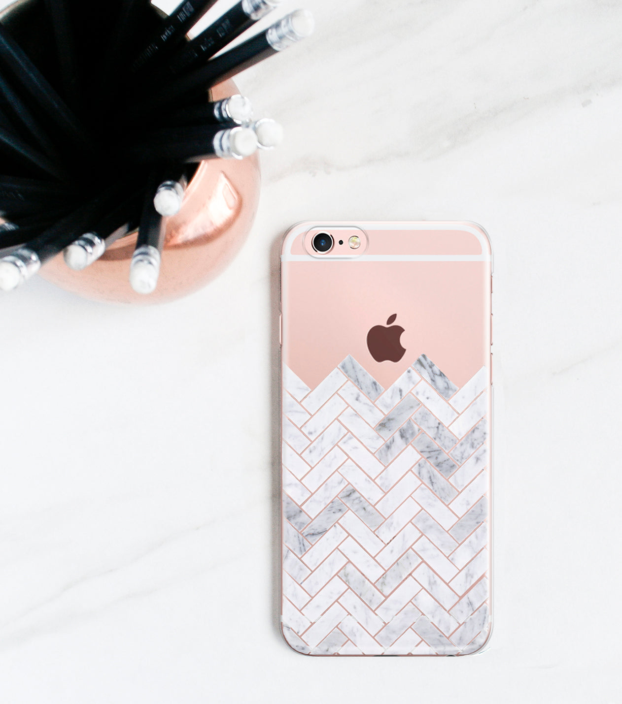 Marble Tile Clear Case | iPhone