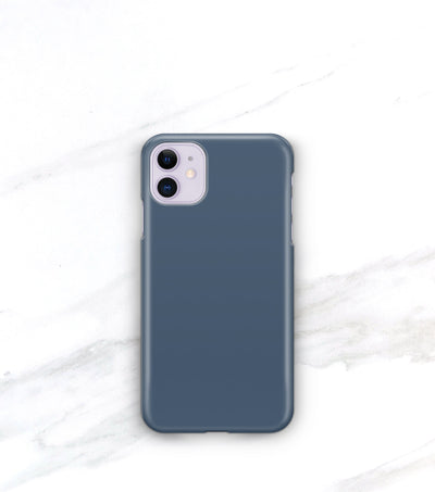 blue iphone 11 case in a matte finish on a purple iphone