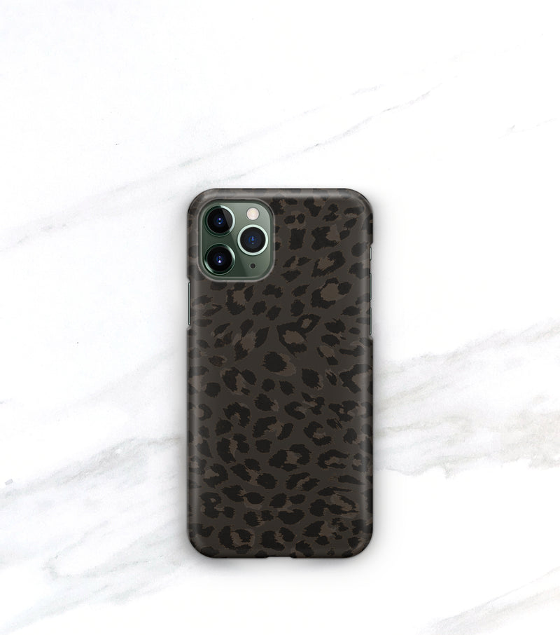 Matte black leopard print iphone 11 case
