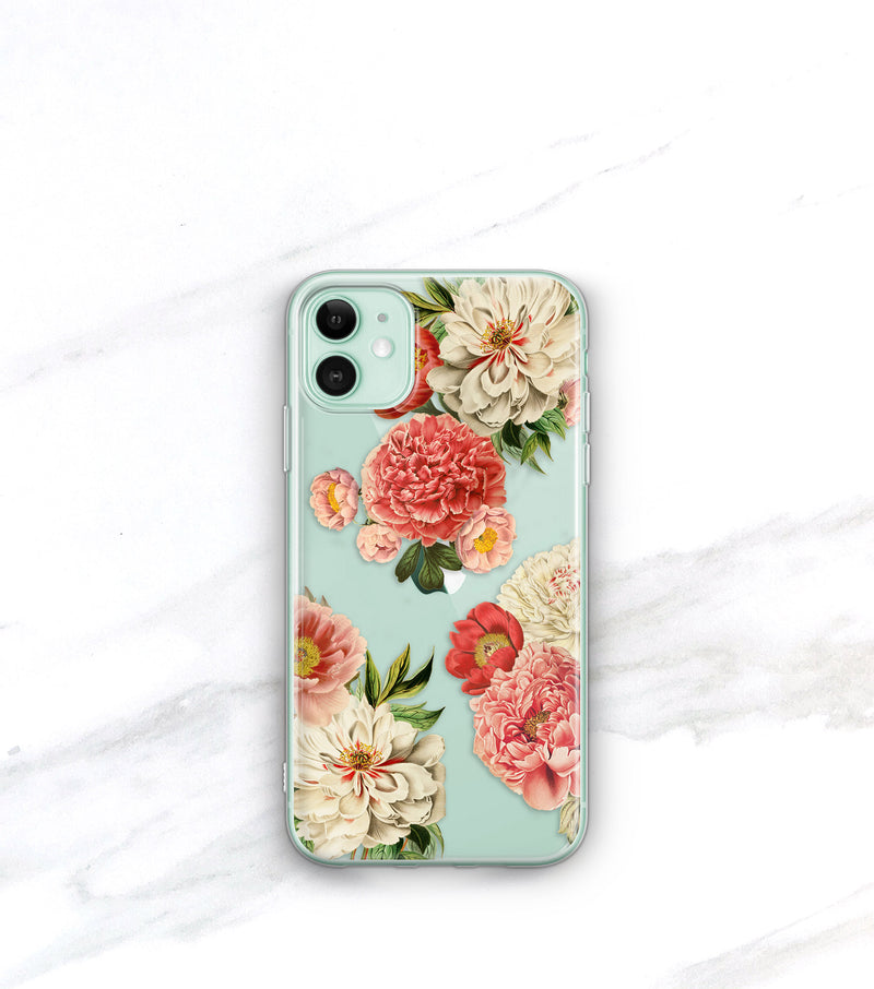 Peony Bunch Clear Case | iPhone