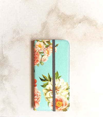 Peony Bunch Wallet case for iPhone with strap