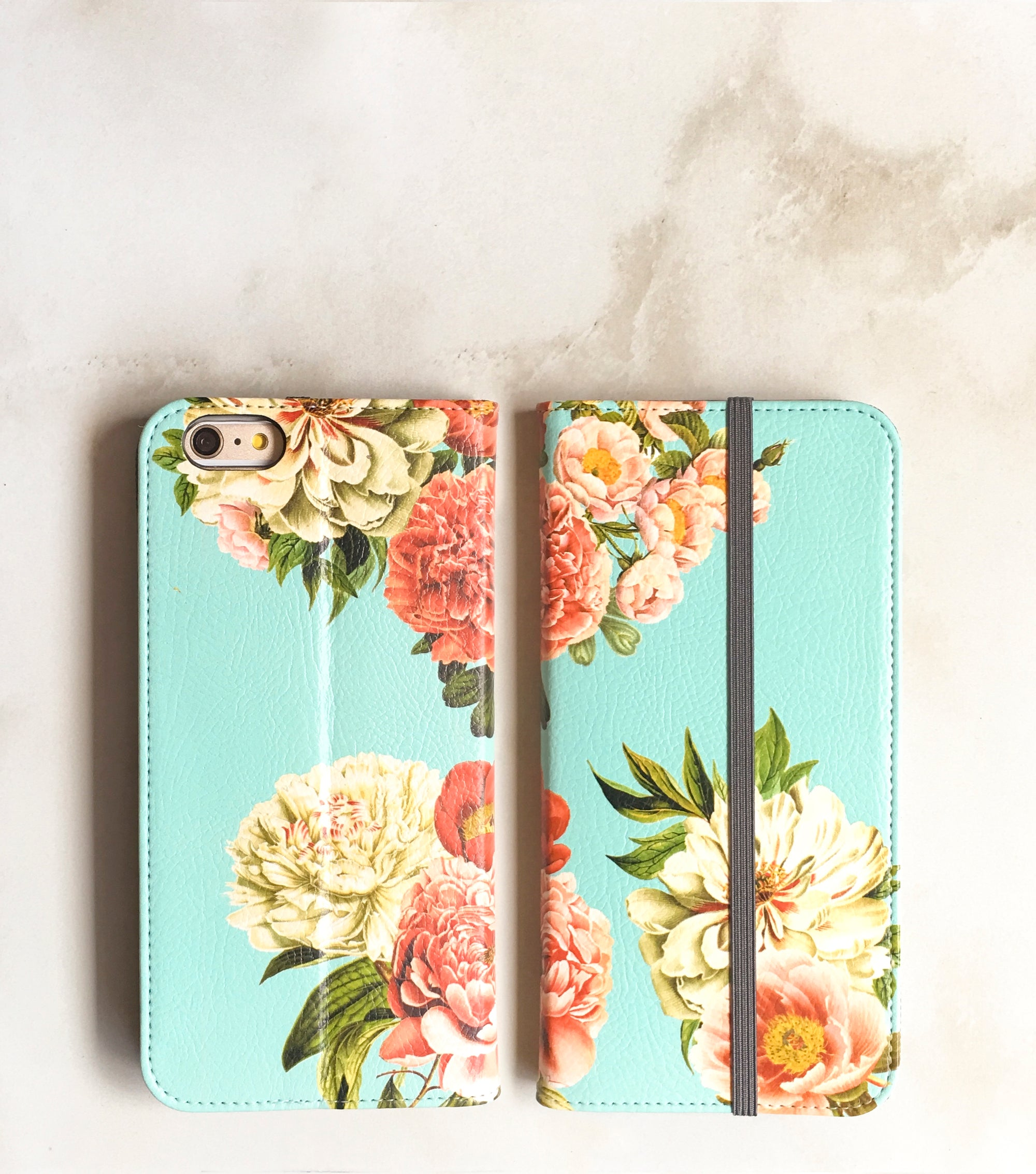 Peony Bunch Blue wallet case for iPhone front and back