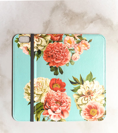 Peony Bunch Wallet case for iPhone full view