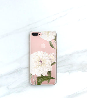 White Peony clear case on black iPhone