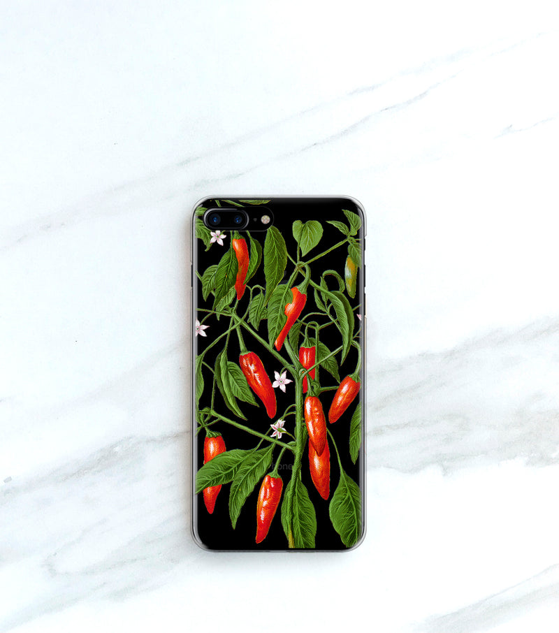 Hot Peppers Clear case over a gold iPhone