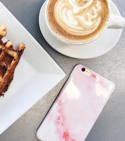 trendy pink marble phone case