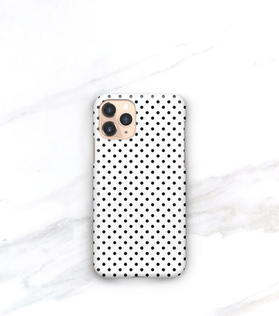iphone 11 pro case with black and white polkadots