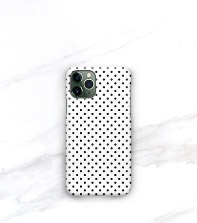 iphone 11 pro max with classic polka dot case in black and white