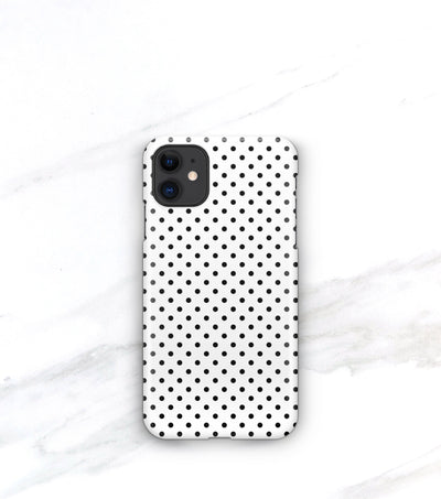 polkadot pattern in black and white on a matte case for iphone 11
