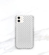 matte iphone 11 case in polkadot pattern with black dots on white