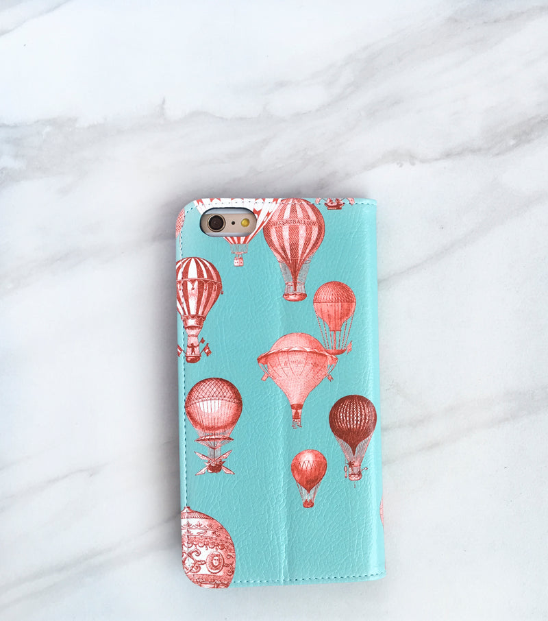 Hot Air Balloons red and blue iPhone wallet case with strap