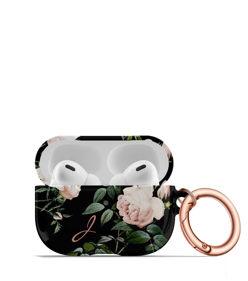 Blush Rose on Black AirPod Case