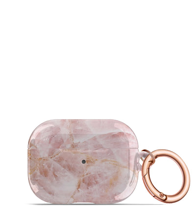 rose quartz airpods pro case keychain rose gold pink marble