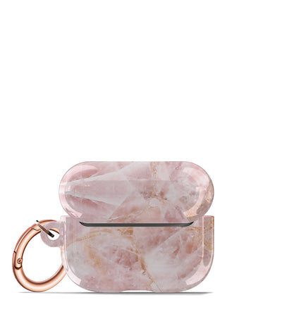 pretty pink marbled airpods pro case keychain