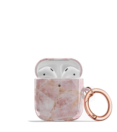 pretty pink marbled airpods case keychain