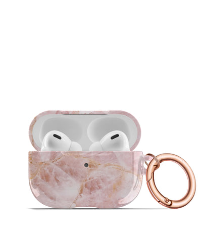 rose quartz airpods pro case with rose gold keychain