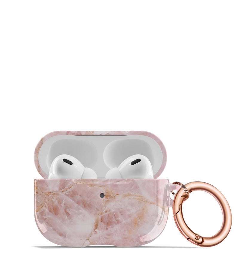rose quartz aipods case keychain rose gold