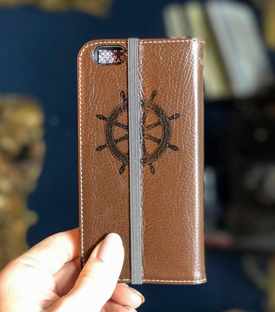 Ship's Log iPhone 7 Wallet back steering wheel