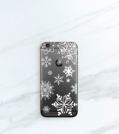White Snowflakes hybrid clear case