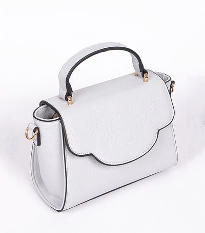 The Bag gray handbag gold accents