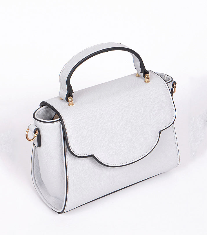 Gray cross-body bag with gold hardware