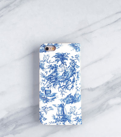 Blue Toile iPhone 7 Wallet case