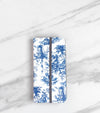 Blue Toile Wallet case for iPhone with strap